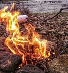 Photo of marshmallow toasting on outdoor fire